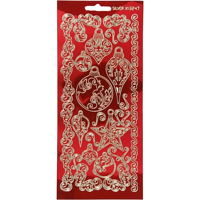 Creativ Company Stickers, Gold, Transparent Red, Ornaments, 10x23 Cm, 1 Sheet