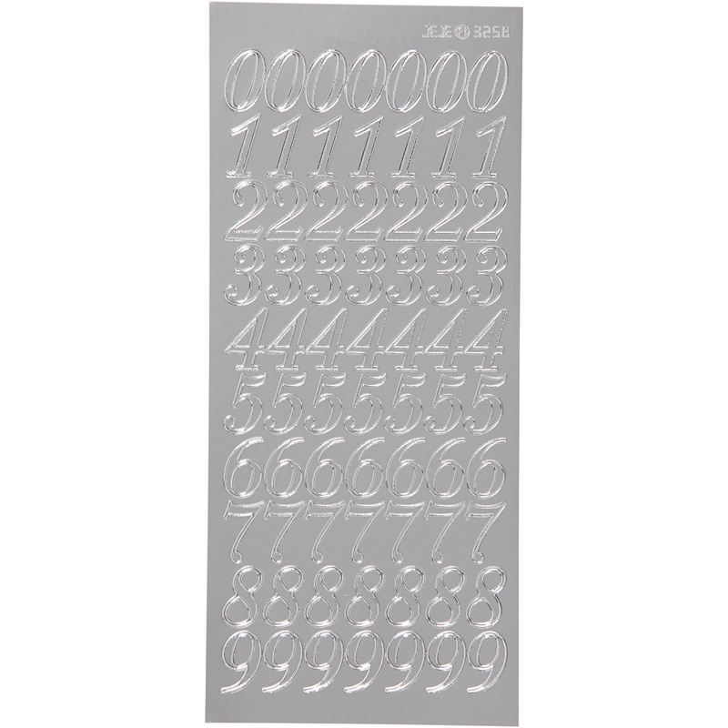 Creativ Company Stickers, Silver, Numbers, 10x23 Cm, 1 Sheet