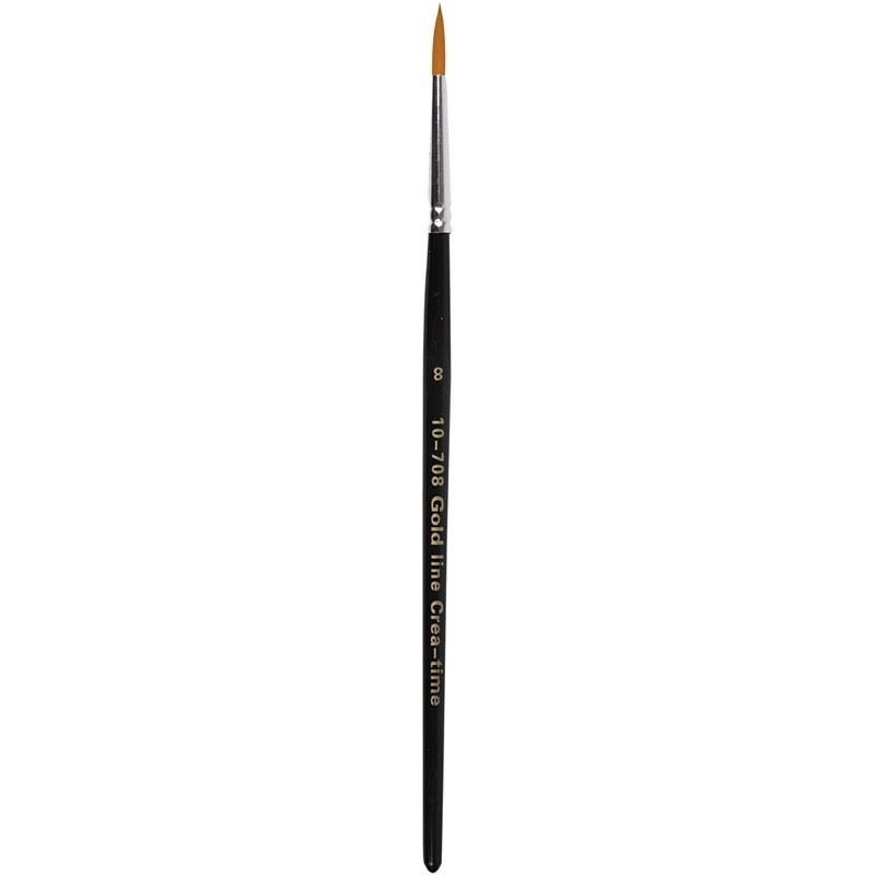 Creativ Company Gold Line Brushes, Round, 8, W: 4 Mm, 12 Pc