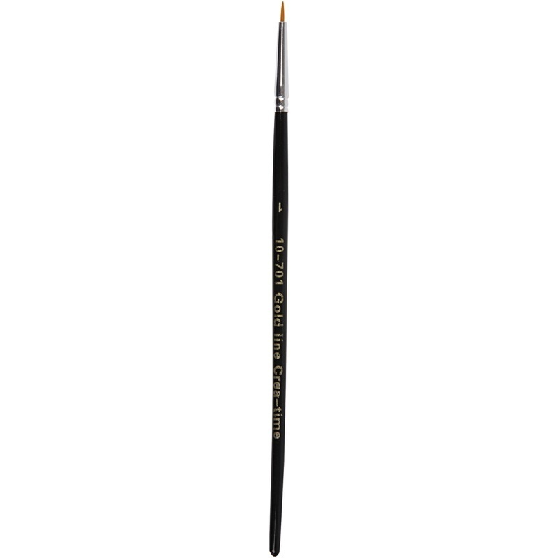Creativ Company Gold Line Brushes, Round, 1, W: 2 Mm, 12 Pc