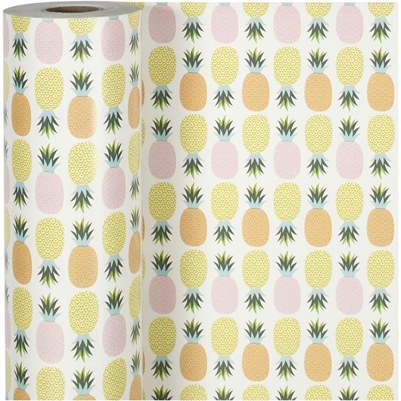 Creativ Company Gift Wrap, Pineapple, W: 50 Cm, 80 G, 150 M, 1 Roll
