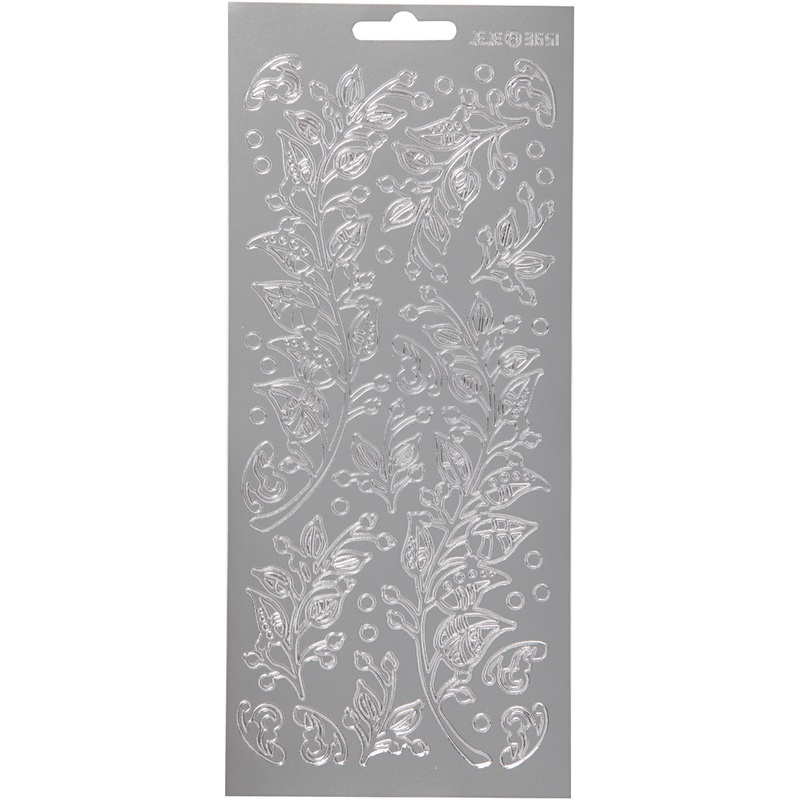 Creativ Company Stickers, Silver, Leaves, 10x23 Cm, 1 Sheet
