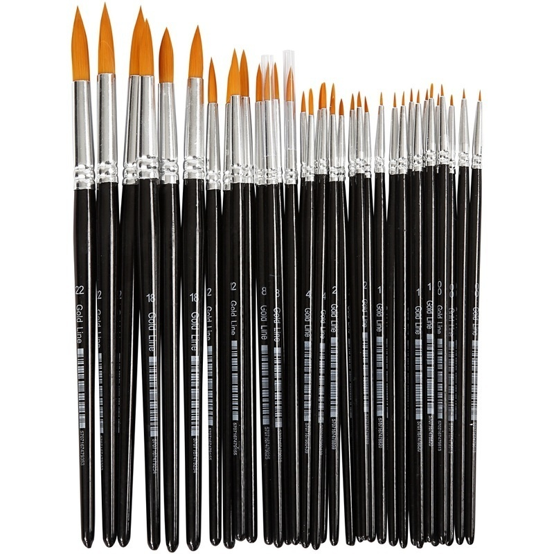 Creativ Company Gold Line Brushes, Round, 0+1+2+4+8+12+18+22, W: 1,5-8 Mm, 36 Pc