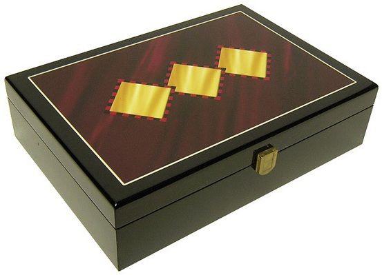 Hi-Gloss Wooden 3 Diamond Design 200 Poker Chip Case