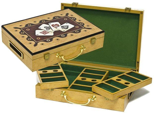 Casino Supply Hi-Gloss Wooden 300 Chip Poker Case