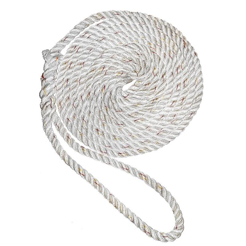 "New England Ropes 3/8"" X 25' Premium Nylon 3 Strand Dock Line - White W/tracer"