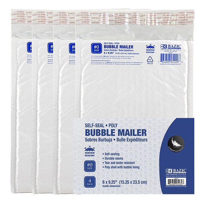 """Poly Bubble Mailer 6"""" X 9.25"""" (#0) - 4 Pack"""