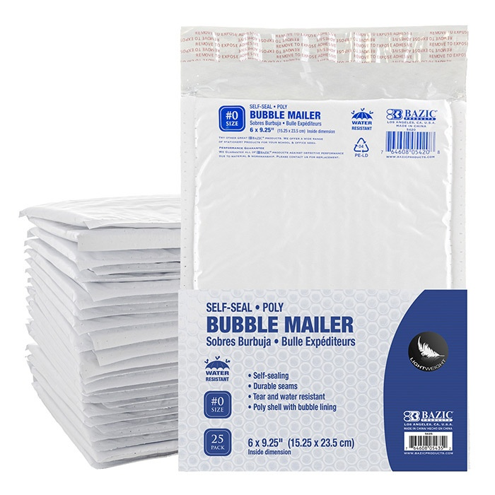 """Poly Bubble Mailer, 6"""" X 9.25"""" (#0) - 25/pack"""