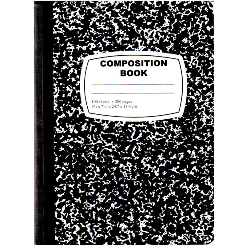 Marbled Composition Book - 100 Sheets, Black