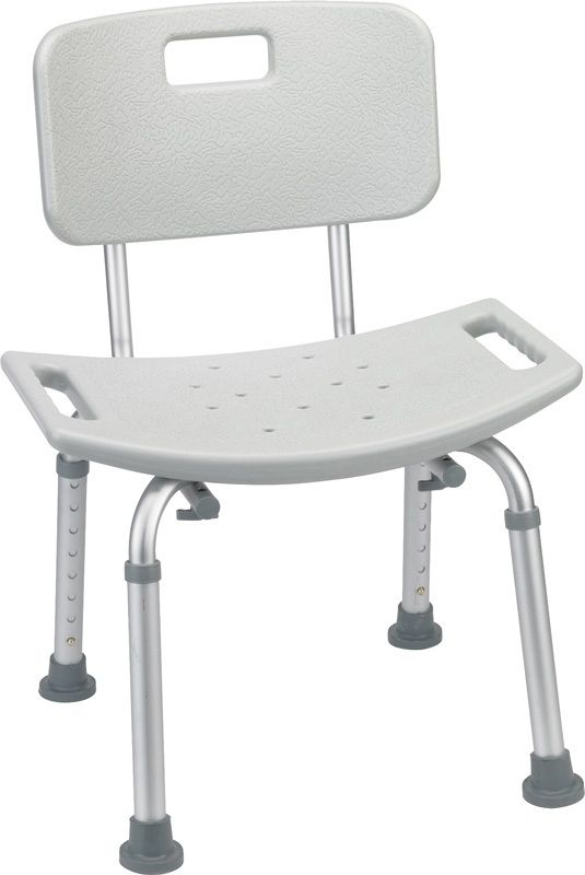 Bathroom Safety Shower Tub Bench Chair With Back, Gray