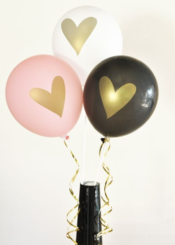 Gold Heart Party Balloons (set Of 3)