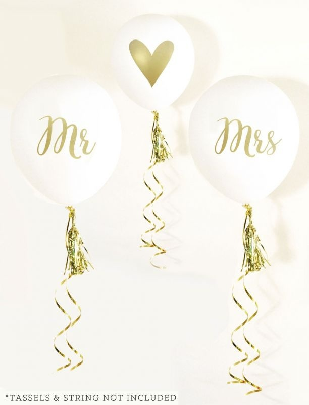 White & Gold Mr & Mrs Party Balloons (set Of 3)
