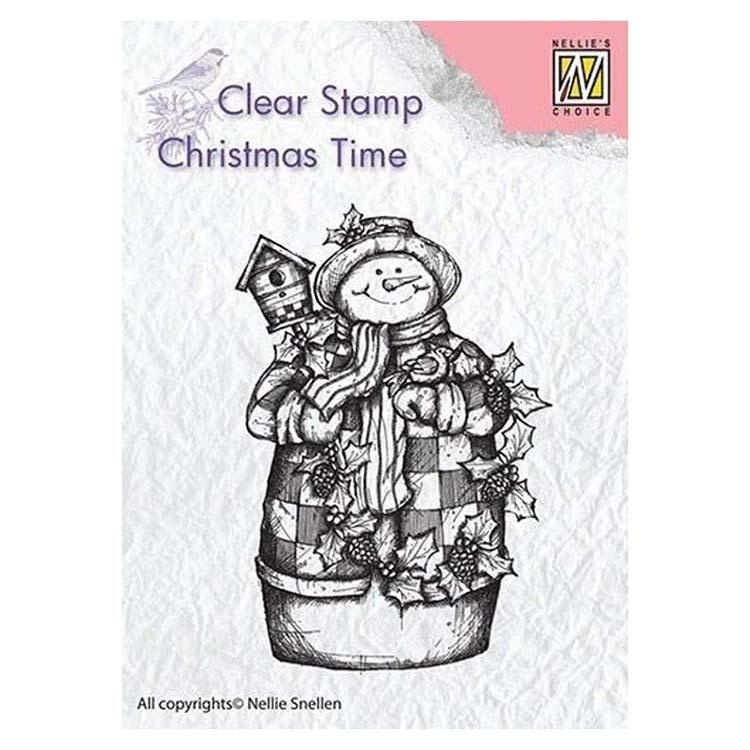 Nellie's Choice Clear Stamp Snowman With Birdhouse