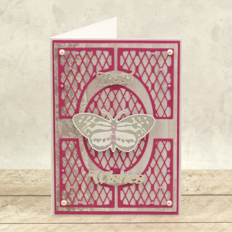 Couture Creations Peaceful Peonies Cut Foil And Emboss Die Spotted Butterfly