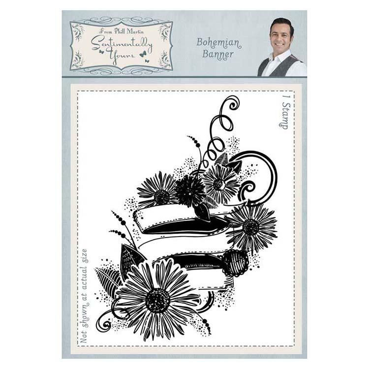 Sentimentally Yours Bohemian Banner A6 Rubber Stamp