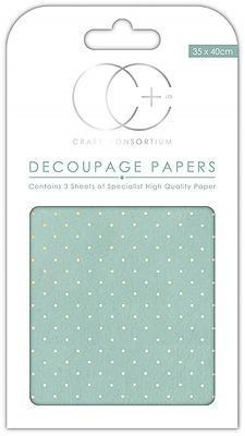 Textured Blue With Gold Polka Decoupage Papers