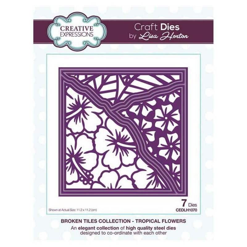 Creative Expressions Broken Tiles Collection Tropical Flowers Craft Die
