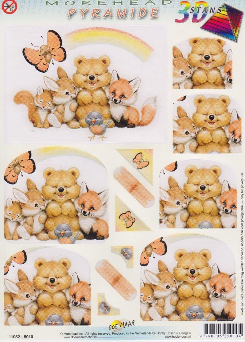 3D Morehead Pyramid Die-Cut Sheet Baby Animals With Rainbow