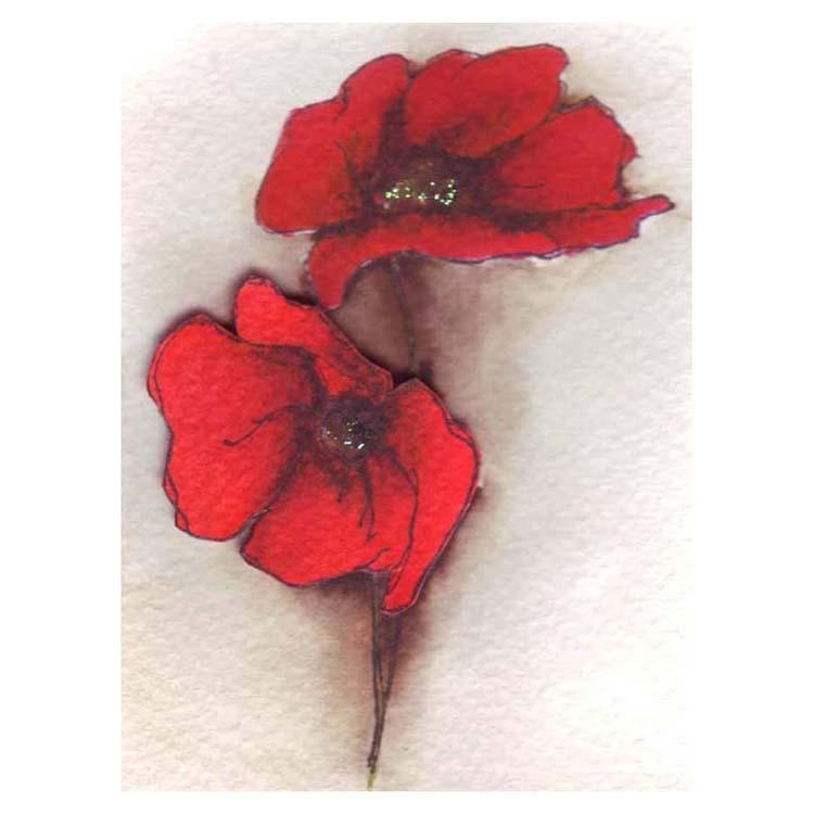 Frog's Whiskers Ink Stamp - Poppies