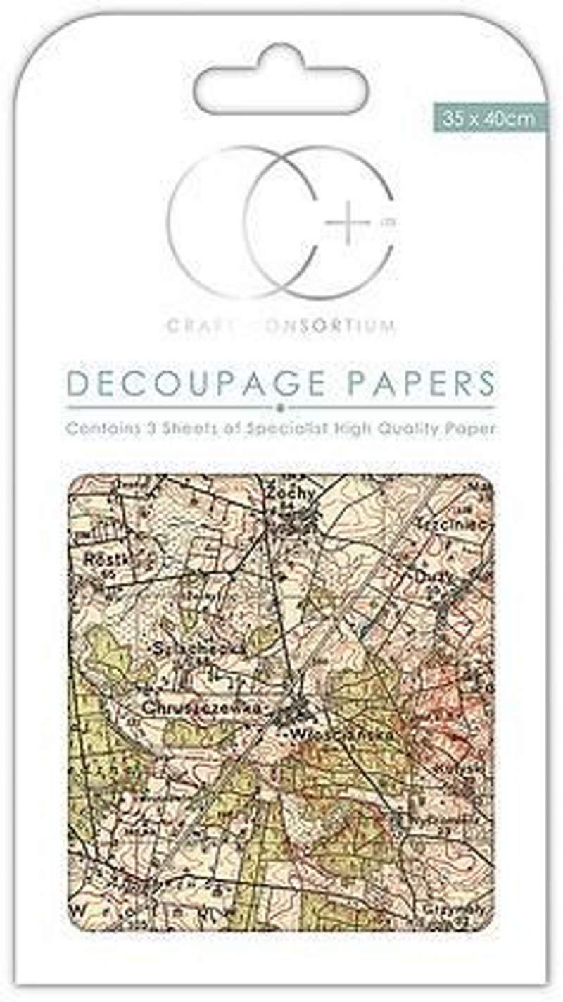 Vintage Map Decoupage Papers