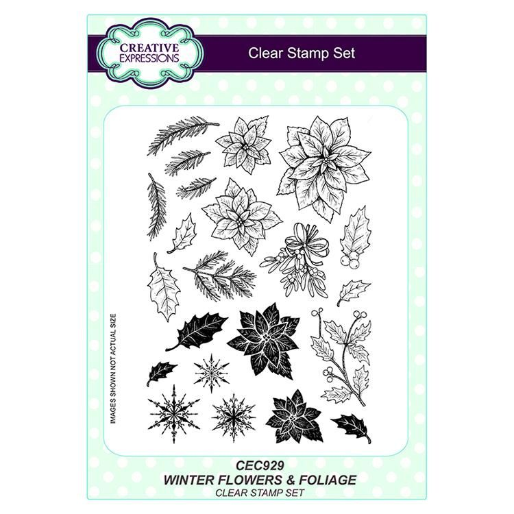 Wintery Flowers And Foliage A5 Clear Stamp Set