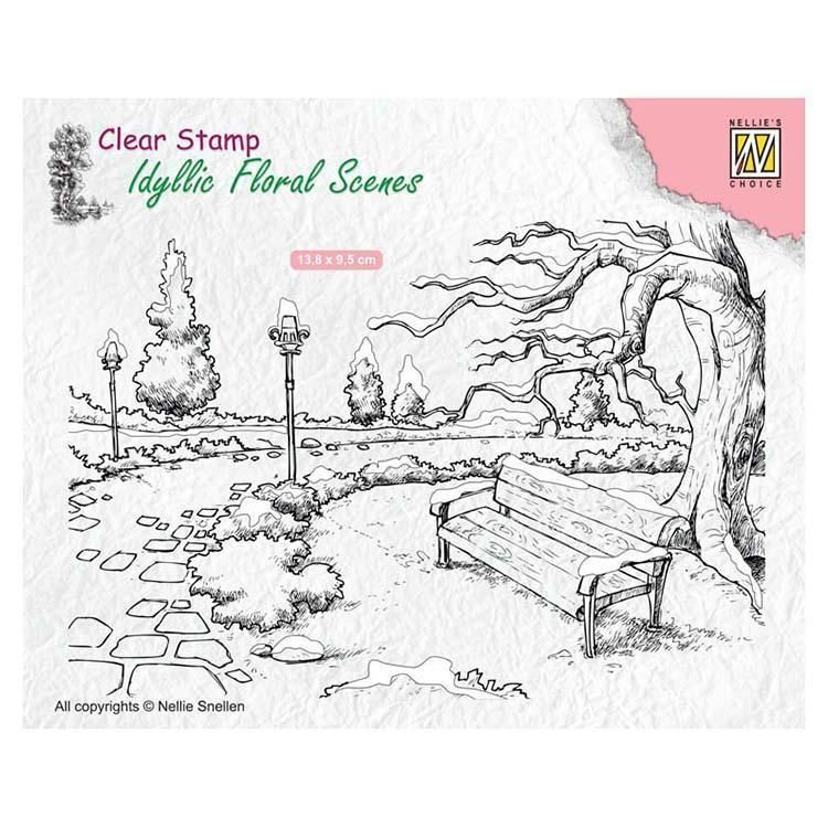 Nellie's Choice Clear Stamp Wintery Park With Bench