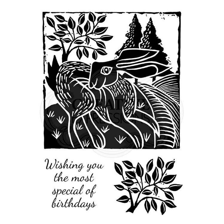 Woodware Clear Singles Lino Cut - Hare In The Fields