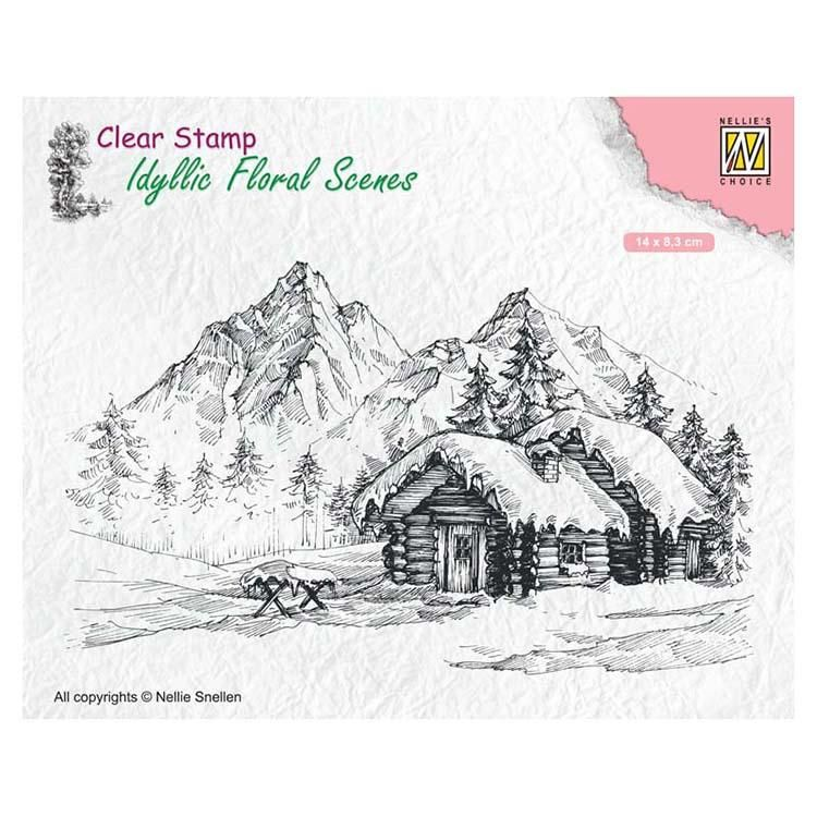Nellie's Choice Clear Stamp Snowy Landscape With Cottage