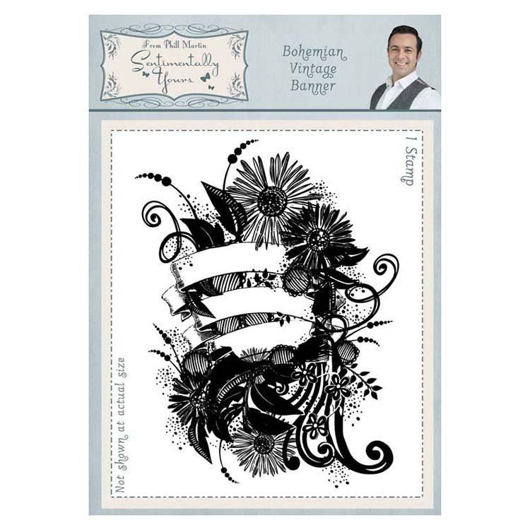 Sentimentally Yours Bohemian Vintage Banner A6 Rubber Stamp