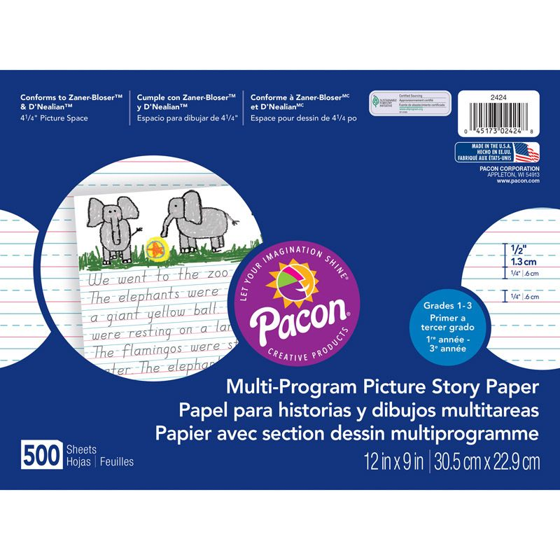 Picture Story Paper 500 Sht 12 X 9 1/2 In Long Rule