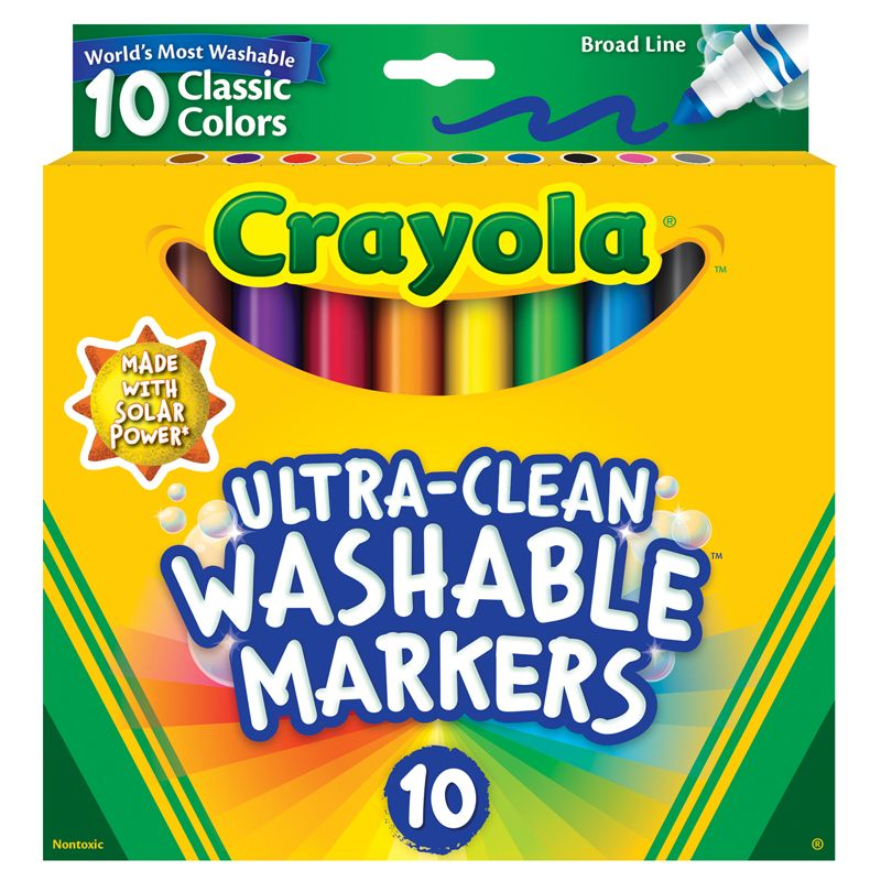 10ct Washable Color Max Markers Broad Line Ultra-clean