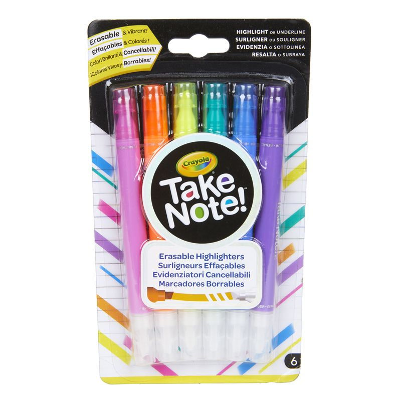 6ct Take Note Erasable Highlighters