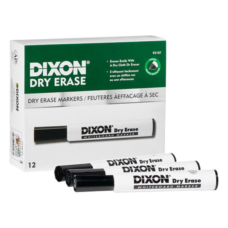 Dry Erase Mrkrs Wedge Tip Blck 12pk