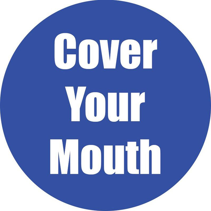 Cover Your Mouth Blue Floor Sticker 5pk