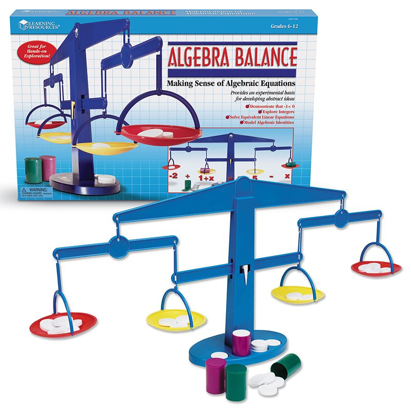Four-Pan Algebra Balance Plastic Pans Canisters Weights