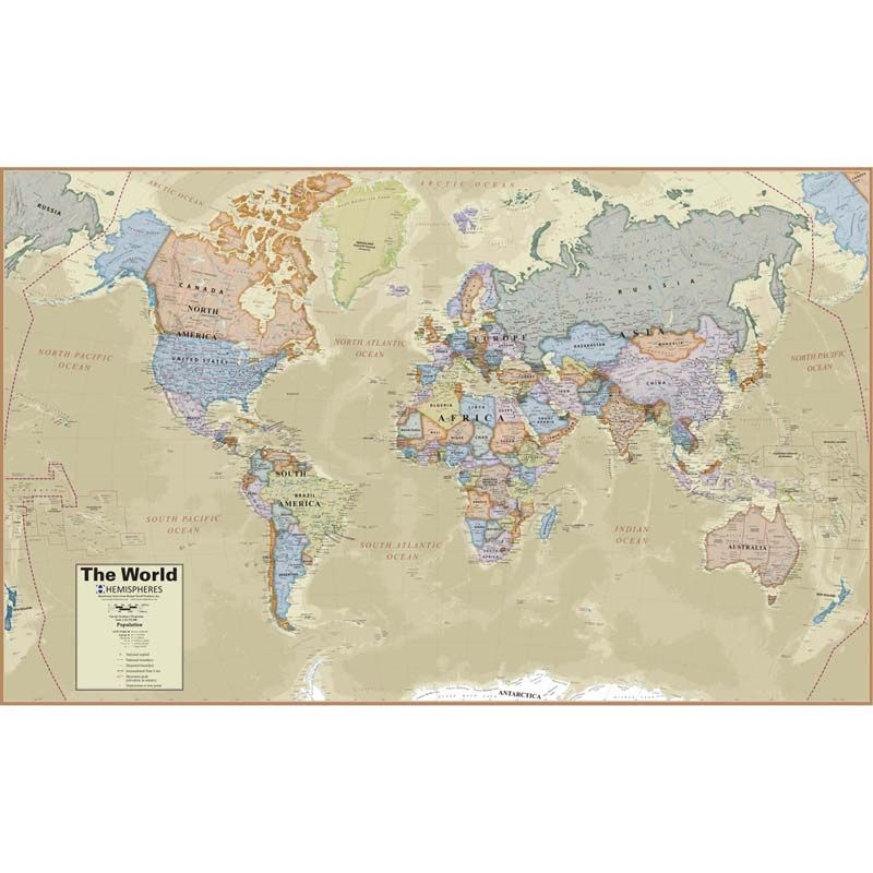 Boardroom Series World Wall Map Hemispheres Laminated