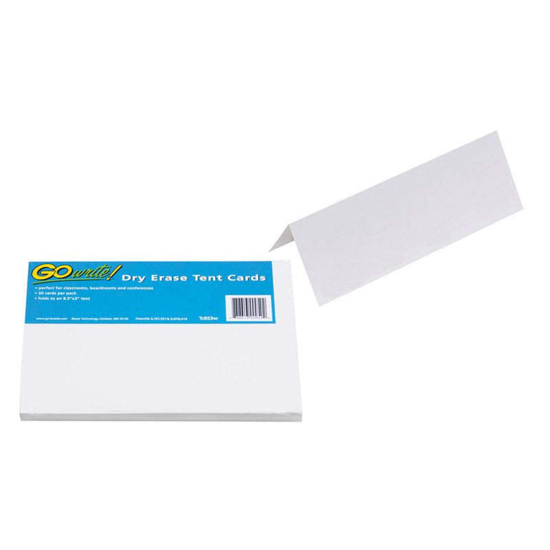 Dry Erase Tent Cards White 50 Cards Non Adhesive