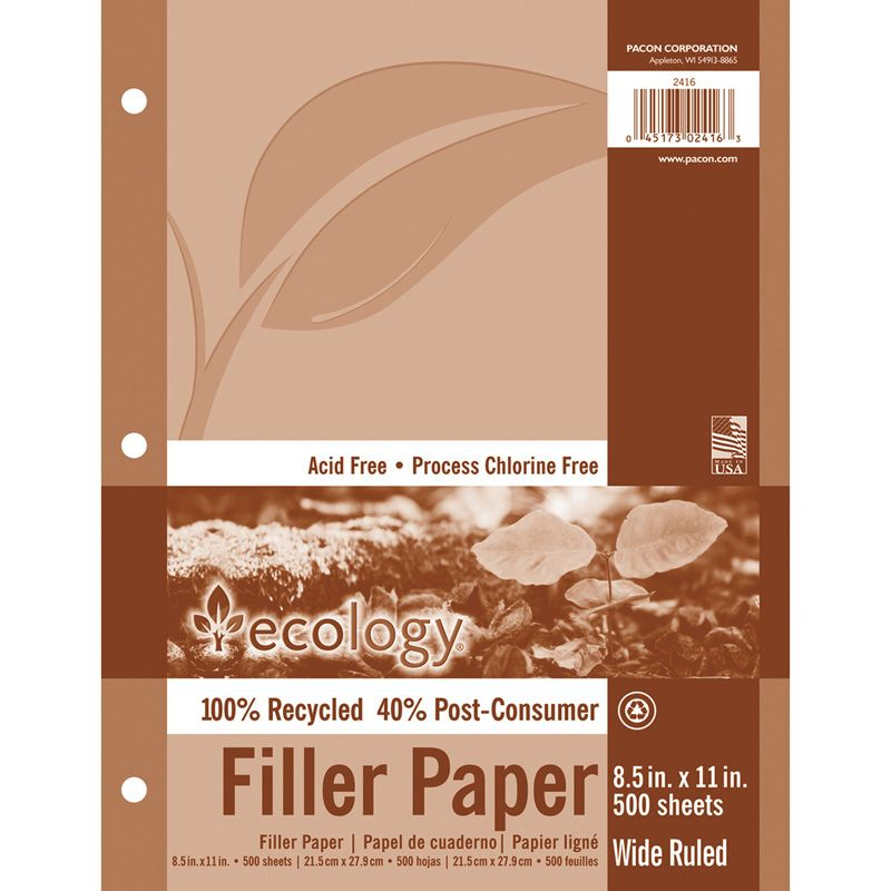 Recycled Filler Paper Wht 500 Shts 3/8in Ruled