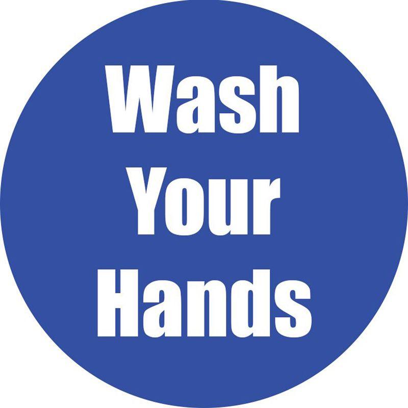 Wash Your Hands Blue Floor Sticker 5pk