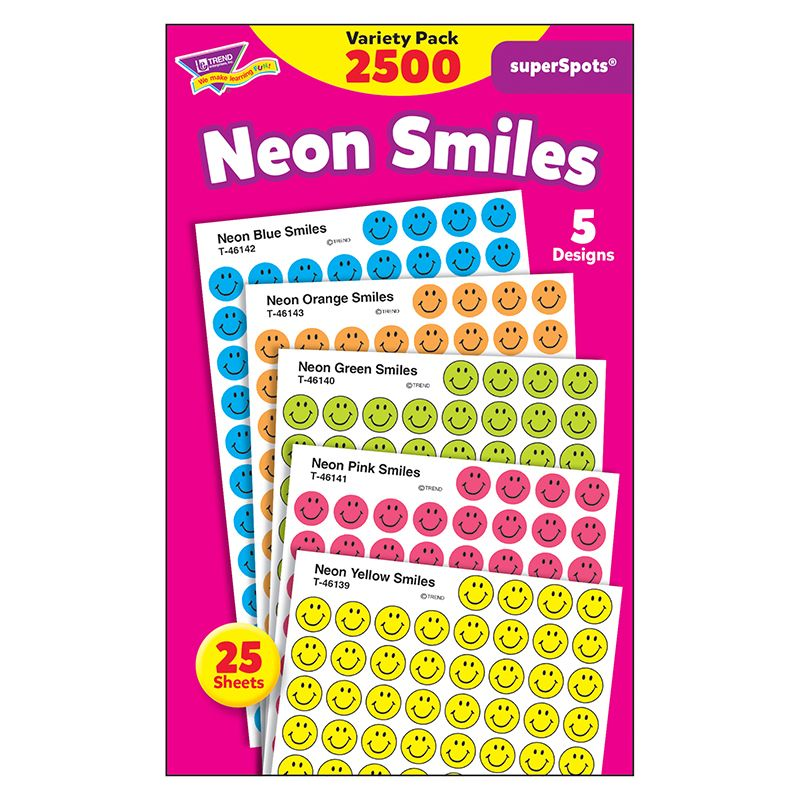Superspots Stickers Neon 2500/Pk Smiles
