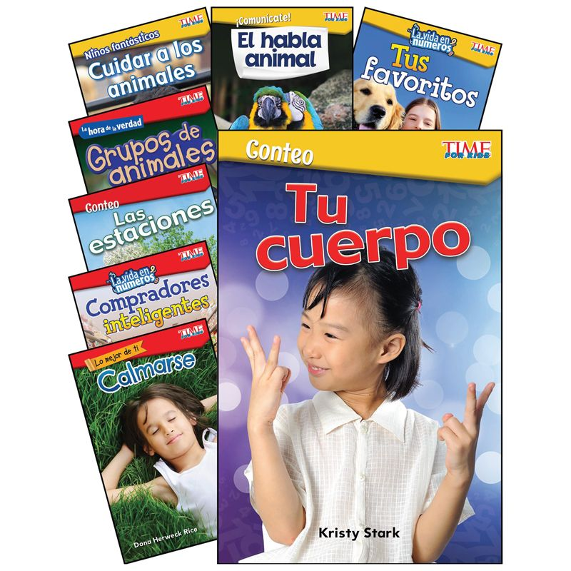 Math/science Spanish Gr K-1 8 Book Set Time For Kids