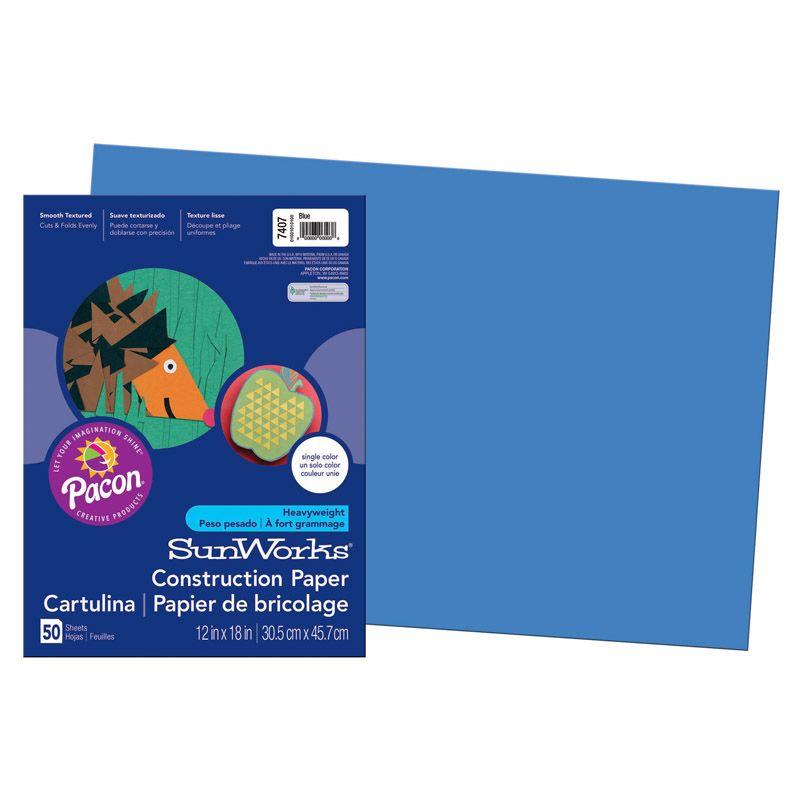 Sunworks 12X18 Blue Groundwood Construction Paper 50Sht