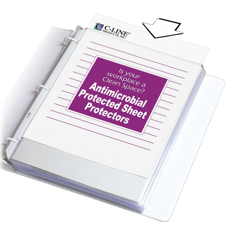 Heavyweight Sheet Protectors 100/bx With Antimicrobial Protection