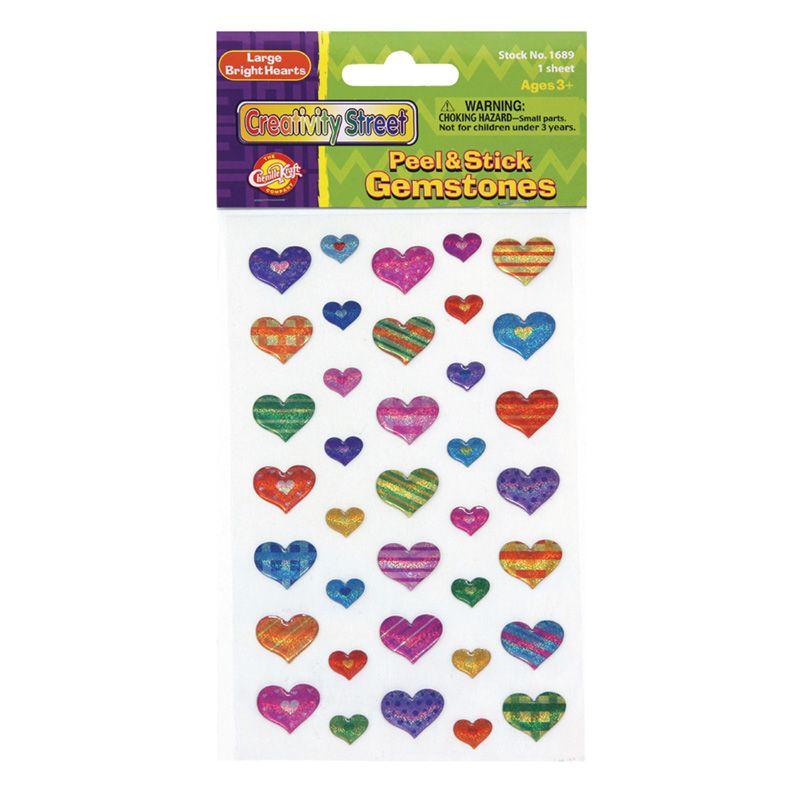 Gemstone Stickers Large Hearts 37pc