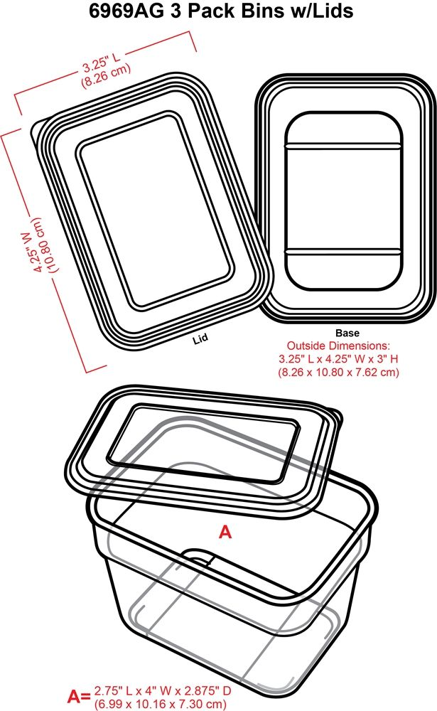 3 Pack Bins With Lids (clear)