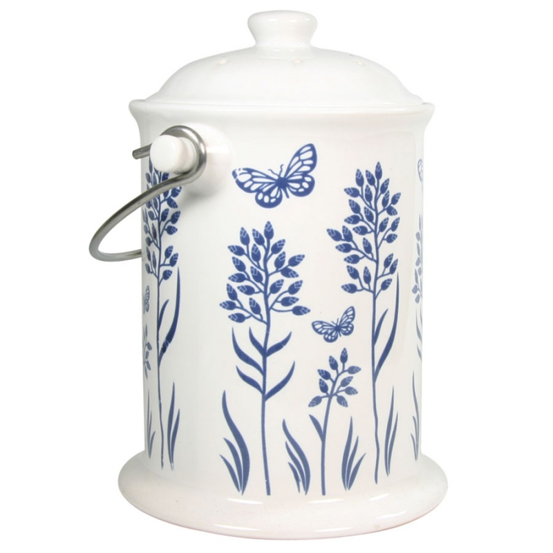 Blue Floral Ceramic Compost Keeper 3 Quart