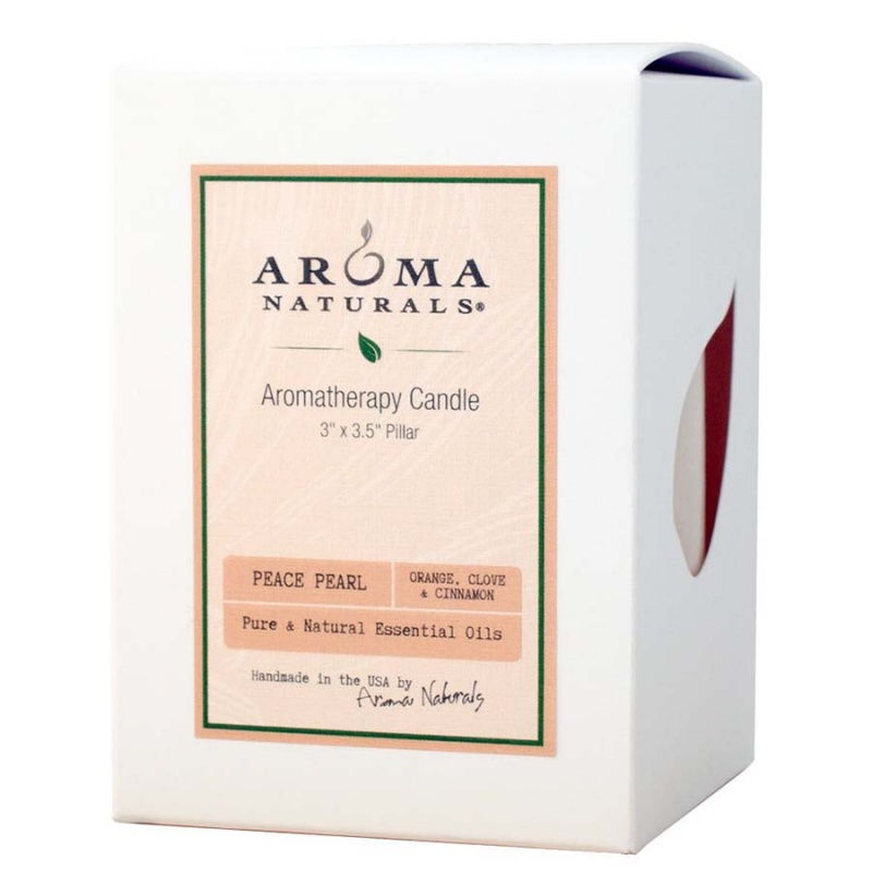 Aroma Naturals Peace Pearl White Pillar 3 X 3 1/2