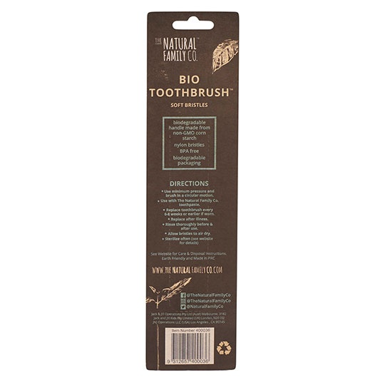 The Natural Family Co. Rivermint And Monsoon Mist Biodegradable Toothbrushes Twin Pack
