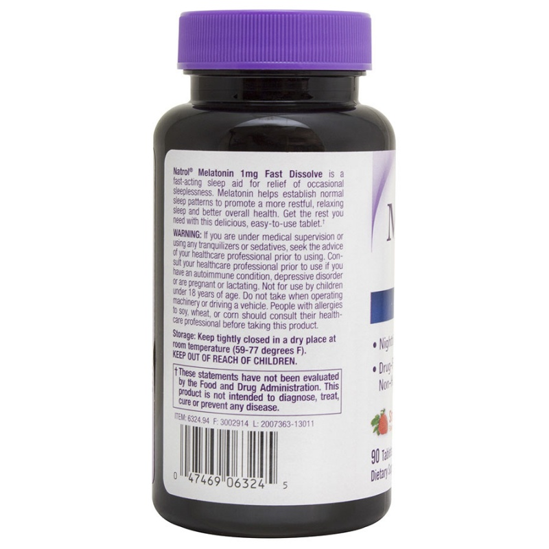 Natrol Melatonin Strawberry Fast Dissolve Tablets 90 Count