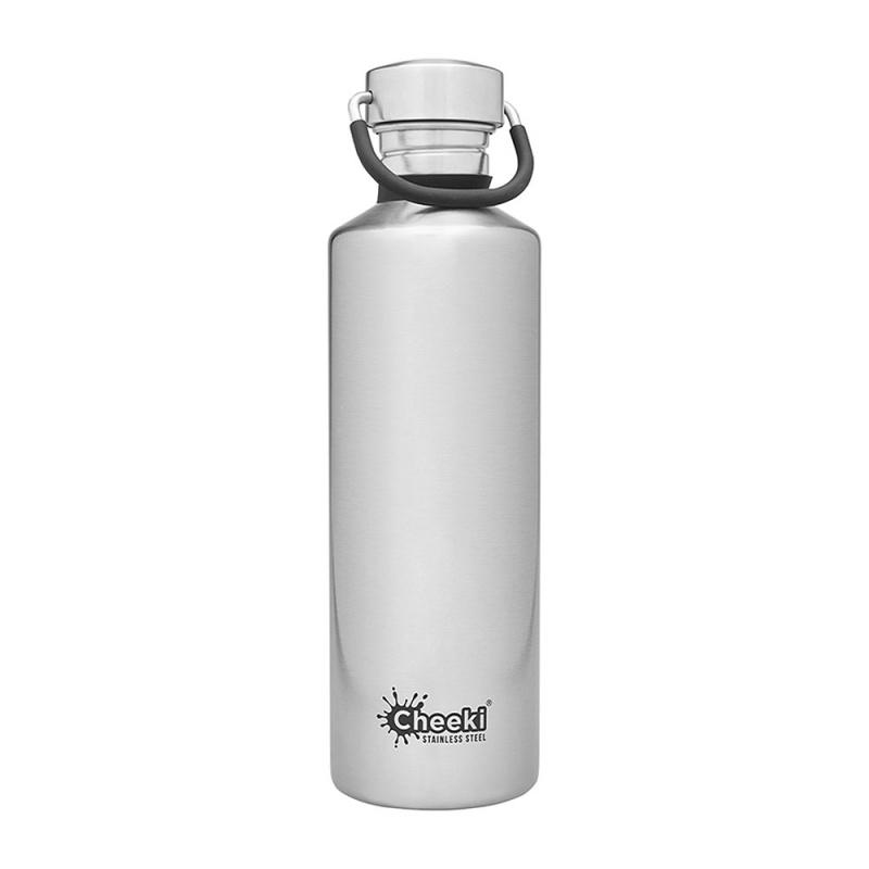 Cheeki Silver Single Wall Stainless Steel Classic Bottle 17 Oz